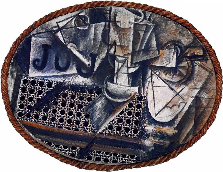 Картина Пабло Пикассо. Натюрморт с плетеным стулом. 1912