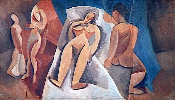 Картина Пабло Пикассо. Лежащая обнаженная и другие персонажи. 1908