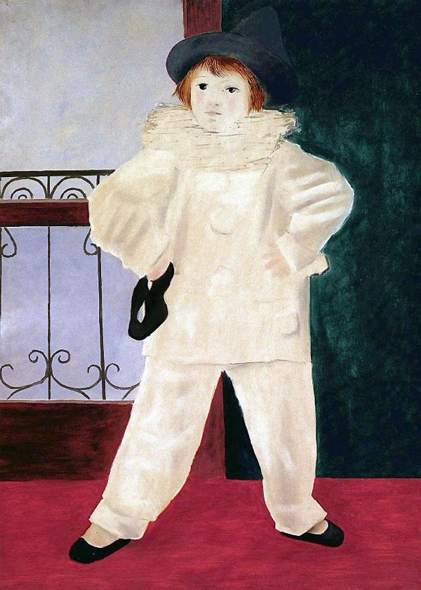 Картина Пабло Пикассо. Поль в костюме Пьеро. 1925