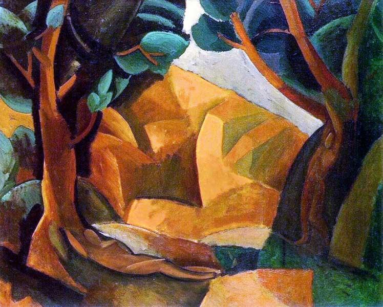 Картина Пабло Пикассо. Пейзаж с двумя фигурами. 1908