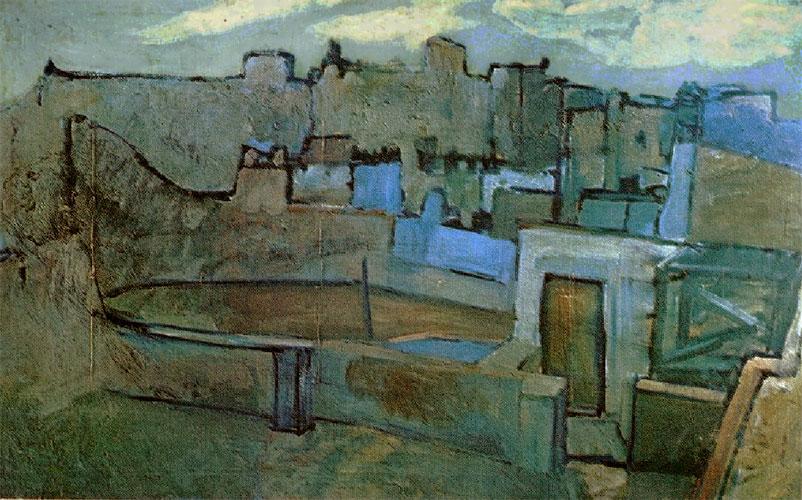 Картина Пабло Пикассо. Крыши Барселоны. 1903