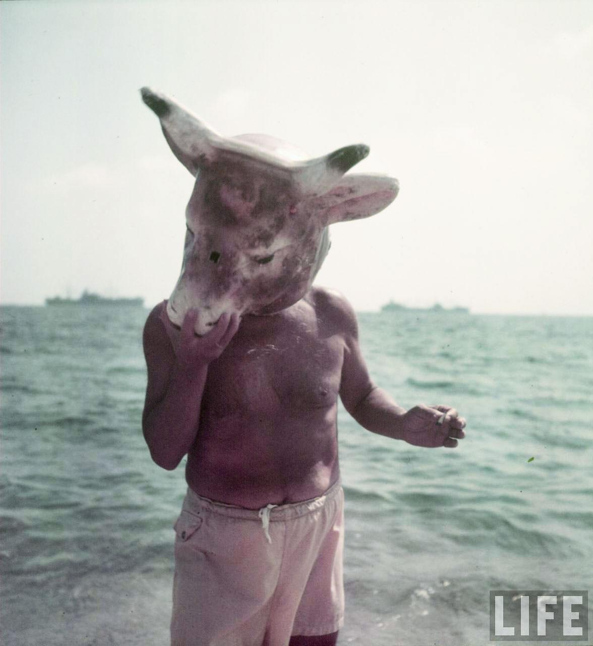 Пабло Пикассо, в маске коровы, на пляже. Гольф-Жуан, 1949. Гийон Мили, фото 3