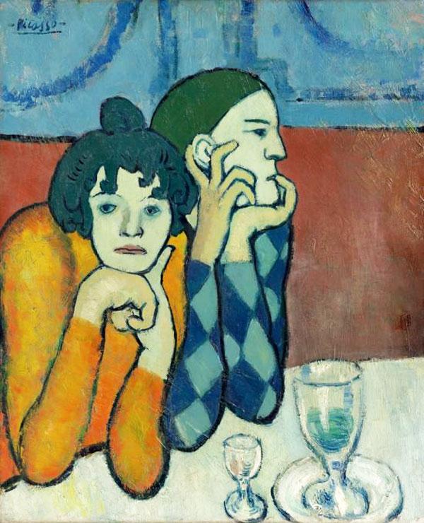 Картина Пабло Пикассо. Арлекин и его подружка (Странствующие гимнасты). 1901