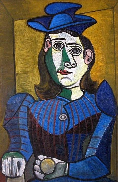 Картина Пабло Пикассо. Бюст женщины в голубой шляпе. 1944