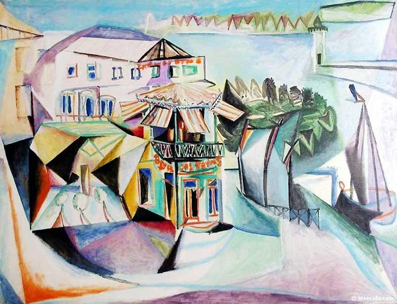 Картина Пабло Пикассо. Кафе в Руайян. 1940