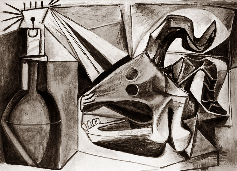 Картина Пабло Пикассо. Череп козы, бутылка и свеча. 1952