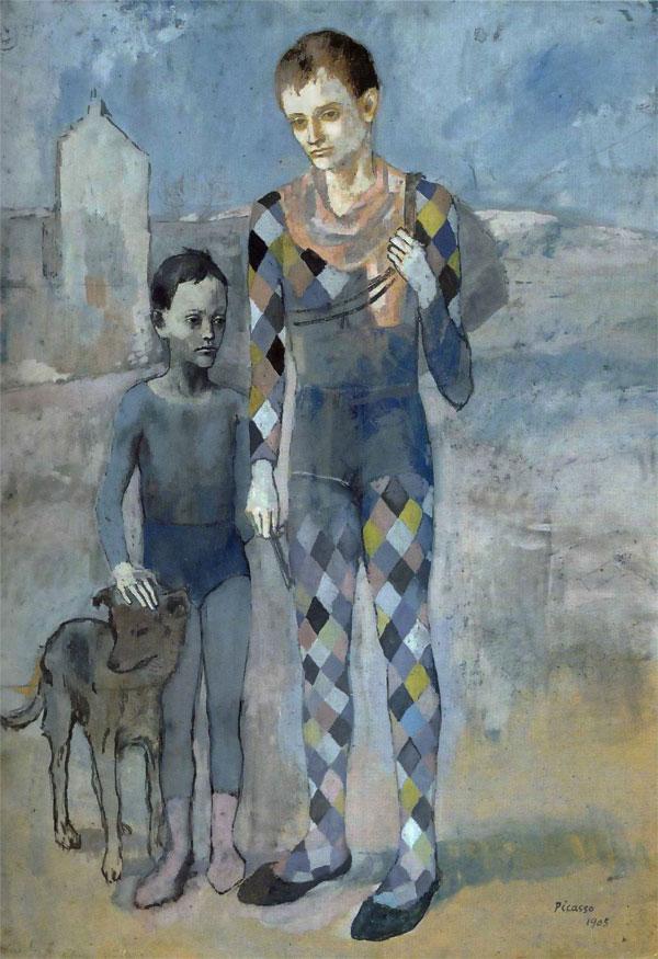 Картина Пабло Пикассо. Два акробата с собакой. 1905