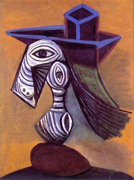 Картина Пабло Пикассо. Женщина в синей шляпе. 1939