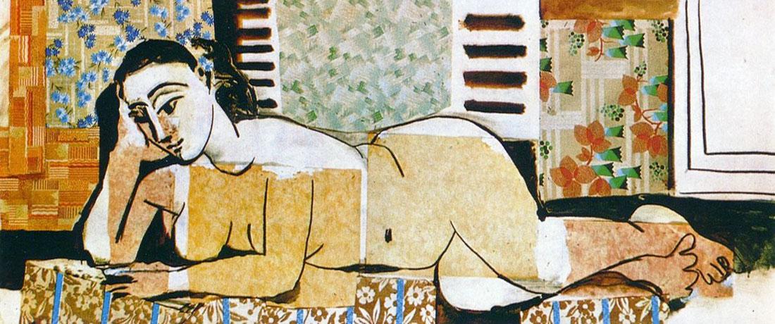 Картина Пабло Пикассо. Лежащая обнаженная. 1955