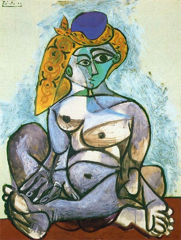 Картина Пабло Пикассо. Обнаженная в турецком головном уборе. 1955