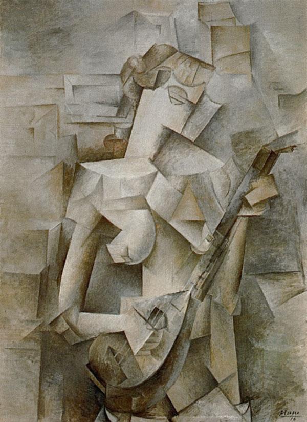 Картина Пабло Пикассо. Девушка с мандолиной (Фанни Телье). 1910