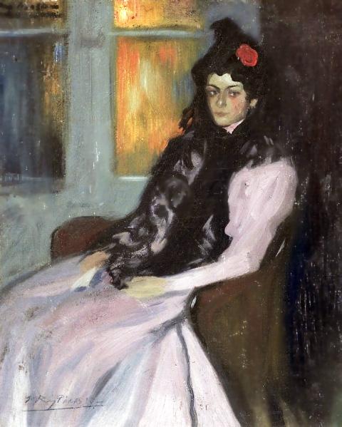 Картина Пабло Пикассо. Сестра художника, Лола. 1900