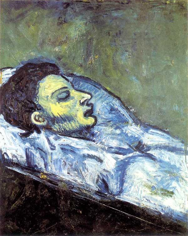 Картина Пабло Пикассо. Смерть Карлоса Касагемаса. 1901