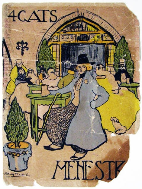 Картина Пабло Пикассо. Меню кафе Четыре кота. 1900