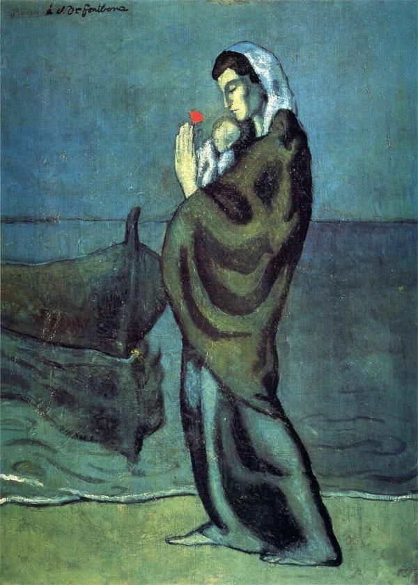 Картина Пабло Пикассо. Мать и дитя на берегу. 1902