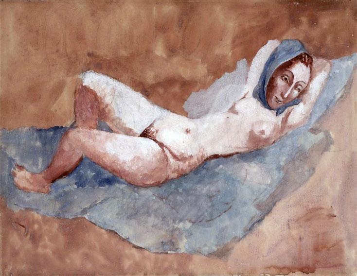 Картина Пабло Пикассо. Лежащая обнаженная (Фернанда). 1906