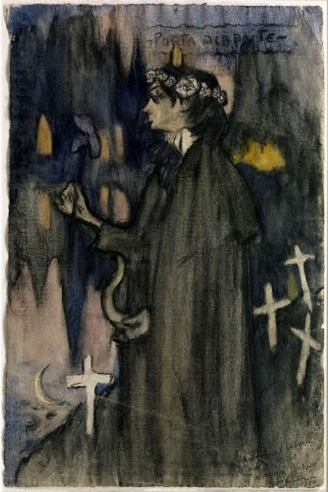 Картина Пабло Пикассо. Поэт декадент. Портрет Хайме Сабартеса. 1900