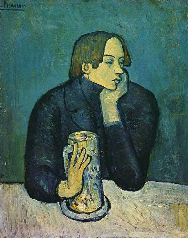 Картина Пабло Пикассо. Портрет Хайме Сабартеса. (Кружка пива). 1901