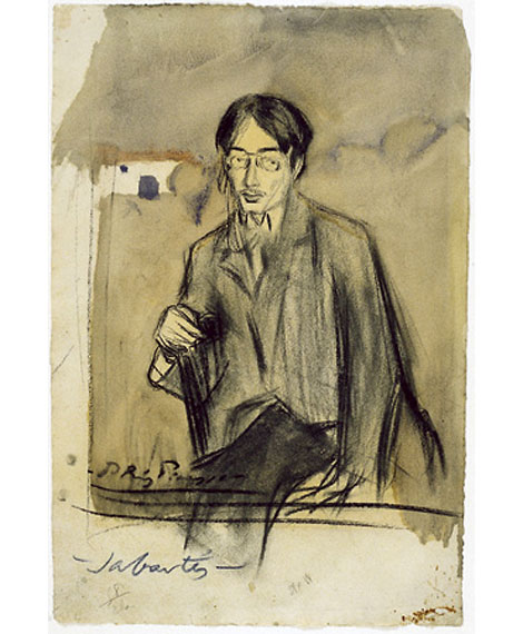 Картина Пабло Пикассо. Портрет Хайме Сабартеса, сидя. 1900