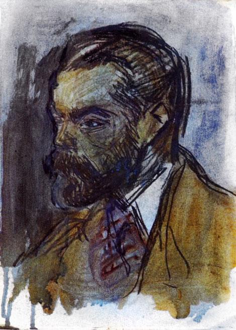 Картина Пабло Пикассо. Портрет Жоакима Мира. 1900