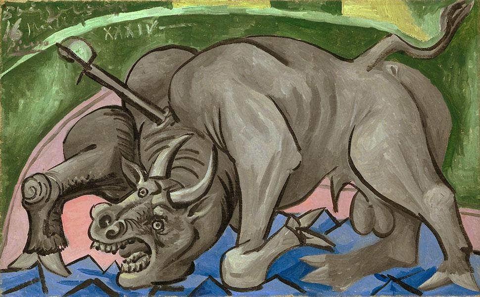 Картина Пабло Пикассо. Умирающий бык. 1934