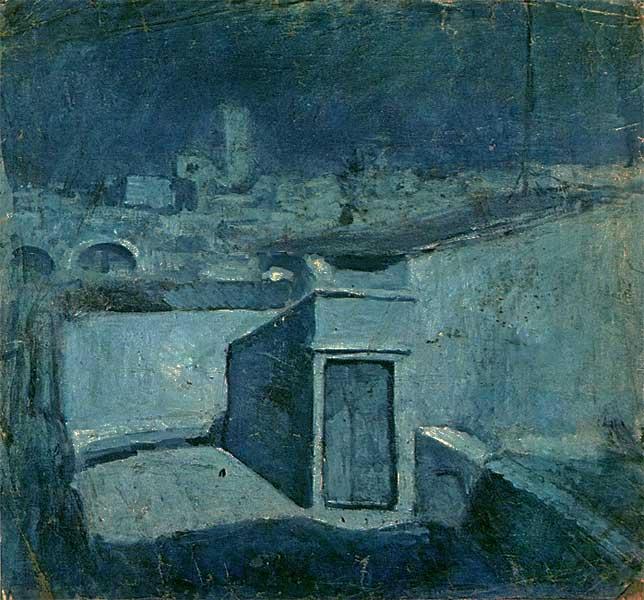 Картина Пабло Пикассо. Крыши Барселоны. 1902