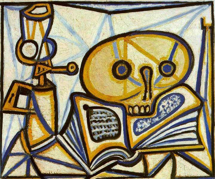 Картина Пабло Пикассо. Череп, книга и керосиновая лампа. 1946