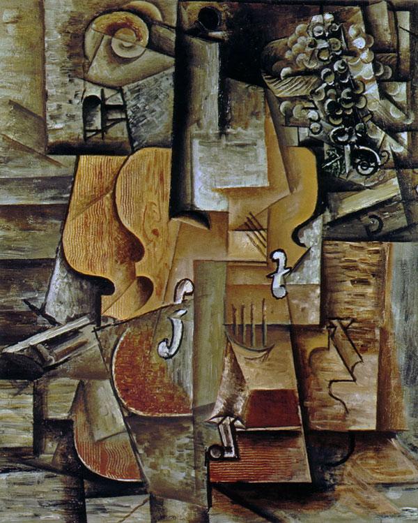 Картина Пабло Пикассо. Скрипка и виноград. 1912