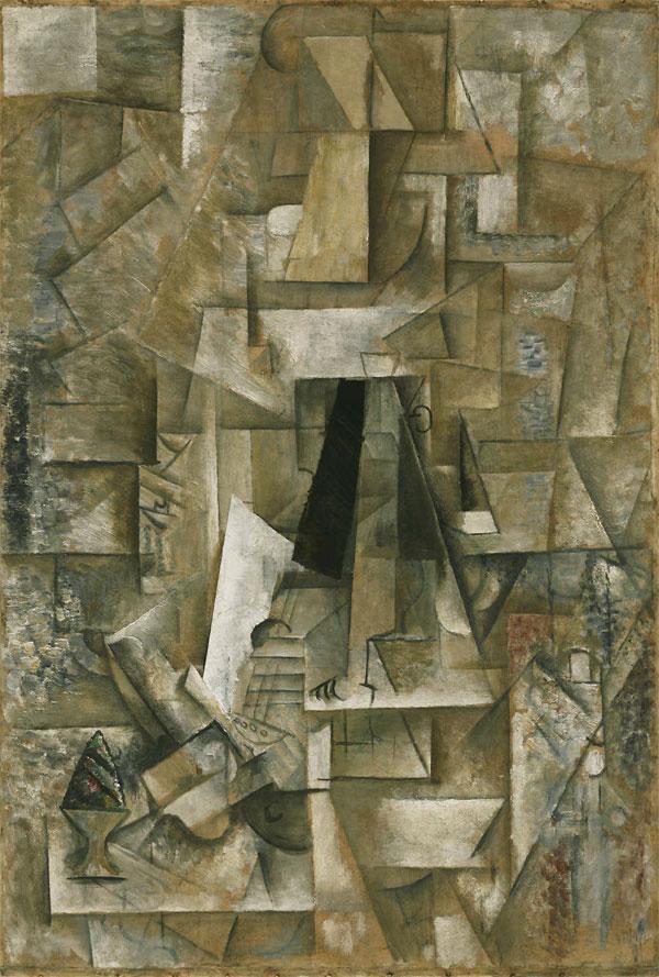 Картина Пабло Пикассо. Человек с гитарой. 1912