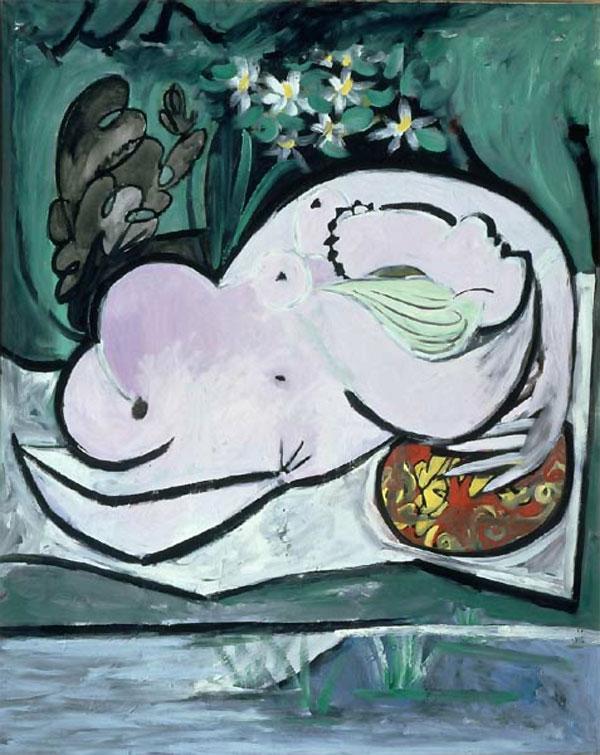 Картина Пабло Пикассо. Обнаженная в саду. 1934