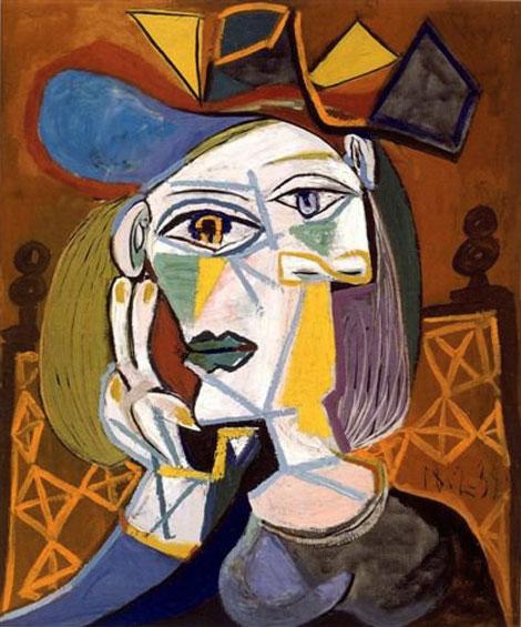 Картина Пабло Пикассо. Голова женщины в шляпе. 1939