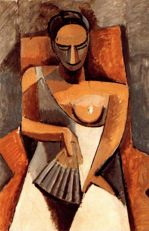 Картина Пабло Пикассо. Женщина с веером. 1907