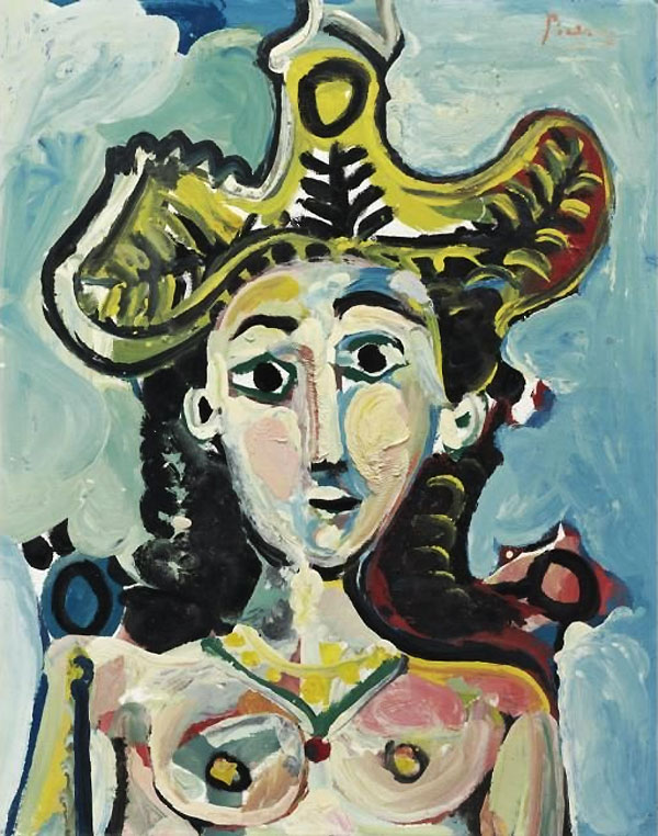Картина Пабло Пикассо. Бюст женщины в большой шляпе. 1965 ($9,3 млн)