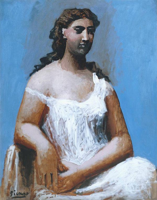 Картина Пабло Пикассо. Сидящая женщина в сорочке. 1923