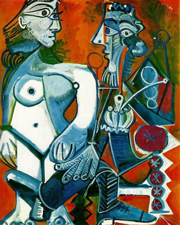 Картина Пабло Пикассо. Стоящая обнаженная женщина и мужчина с трубкой.1968
