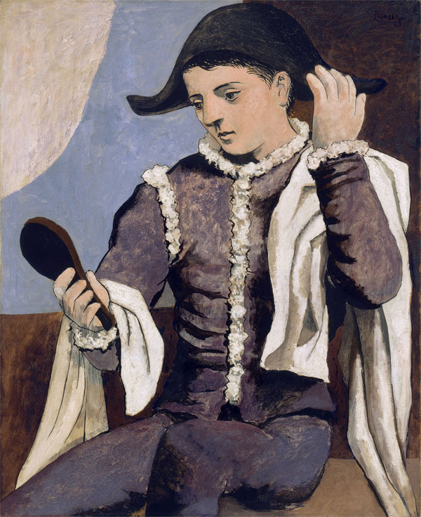 Картина Пабло Пикассо. Арлекин с зеркалом. 1923