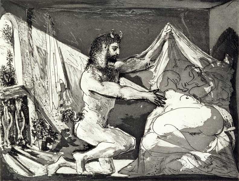Картина Пабло Пикассо. Фавн, ракрывающий спящую (по офорту Рембрандта Юпитер и Антиопа). 1936