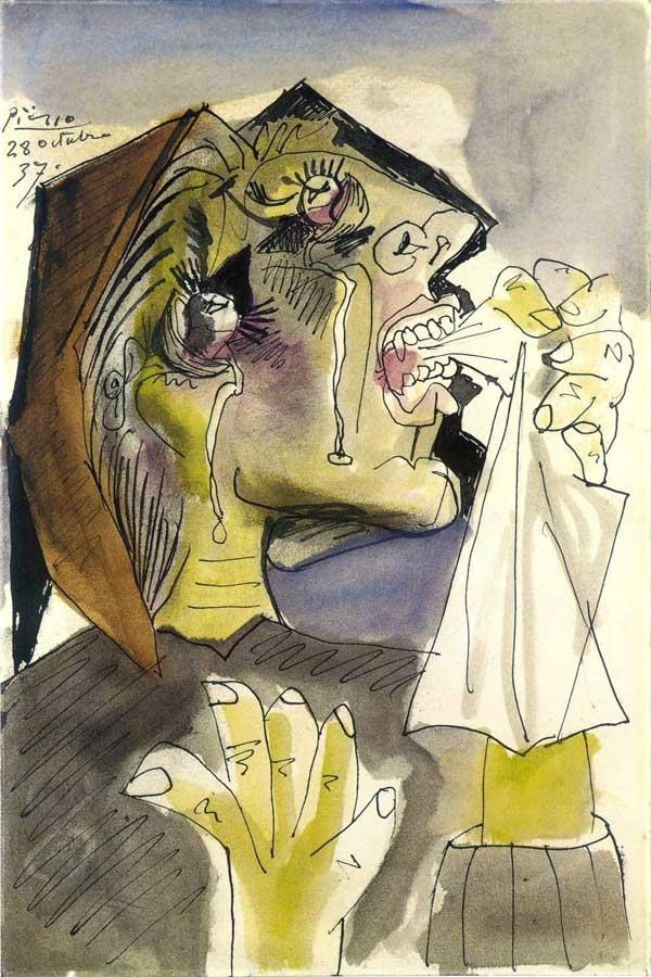 Картина Пабло Пикассо. Плачущая женщина 3. 1937
