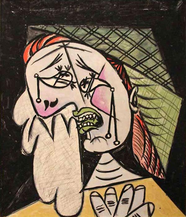 Картина Пабло Пикассо. Плачущая женщина с платком 2. 1937