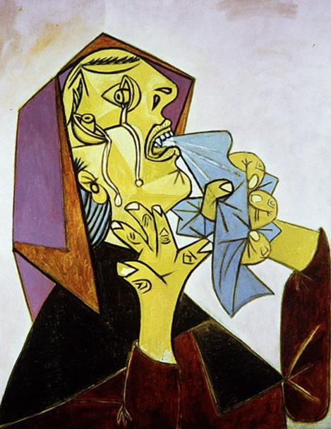 Картина Пабло Пикассо. Плачущая женщина с платком. 1937
