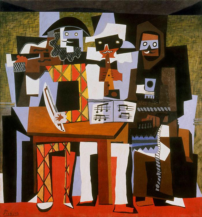 Картина Пабло Пикассо. Три музыканта. 1921