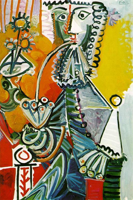 Картина Пабло Пикассо. Мушкетер с трубкой и цветами. 1968