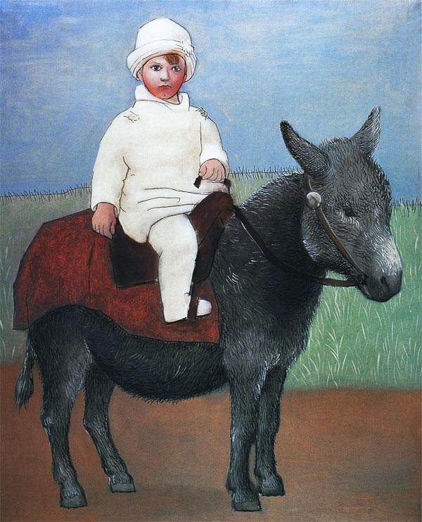 Картина Пабло Пикассо. Пауло на ослике. 1923
