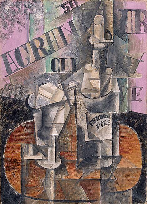 Картина Пабло Пикассо. Столик в кафе (Бутылка перно). 1912