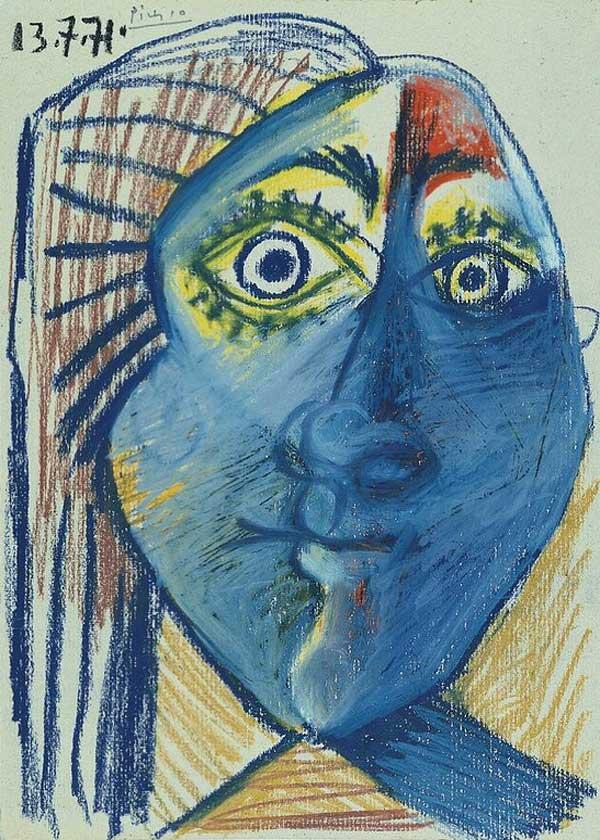 Картина Пабло Пикассо. Голова женщины. 1971