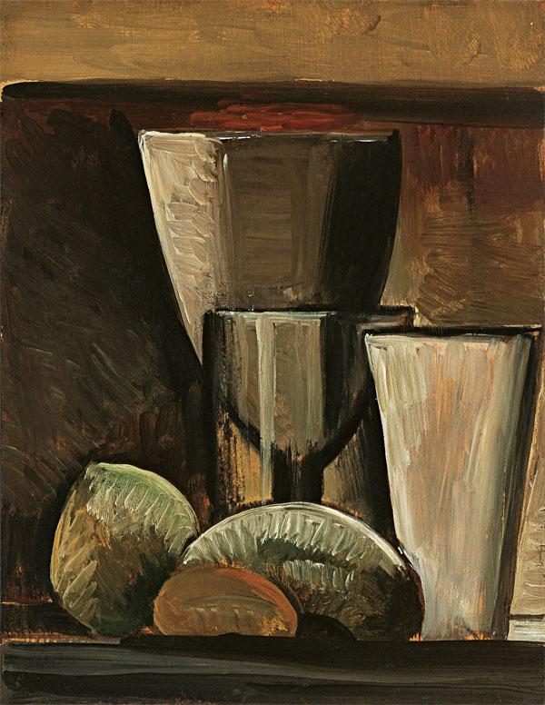Картина Пабло Пикассо. Бокалы и фрукты. 1908