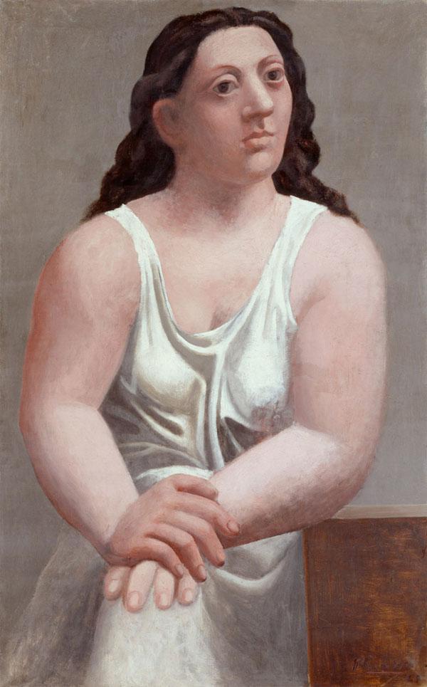 Картина Пабло Пикассо. Сидящая женщина (Женщина в рубашке). 1921
