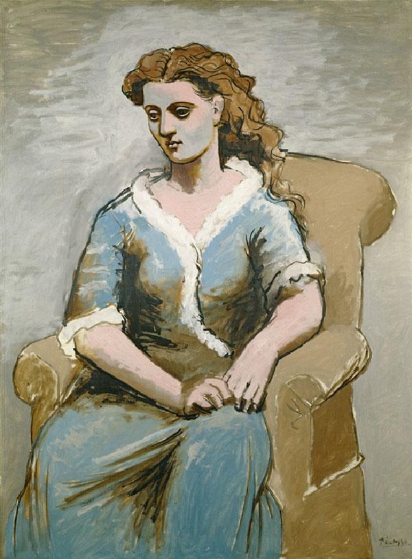 Картина Пабло Пикассо. Женщина, сидящая в кресле. 1923
