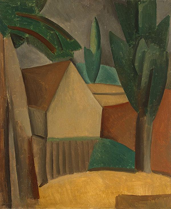 Картина Пабло Пикассо. Домик в саду. 1908