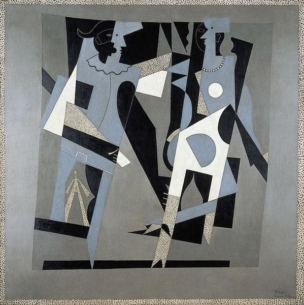 Картина Пабло Пикассо. Арлекин и женщина в ожерелье. 1917